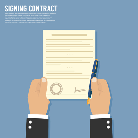 qualify: Vector agreement icon - hand signing contract on white paper Illustration