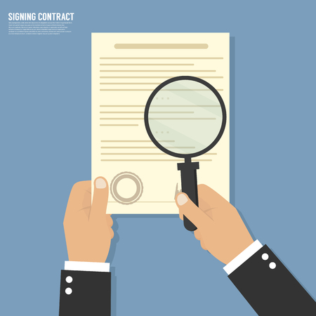 hand paper: Vector agreement icon - hand signing contract on white paper Illustration