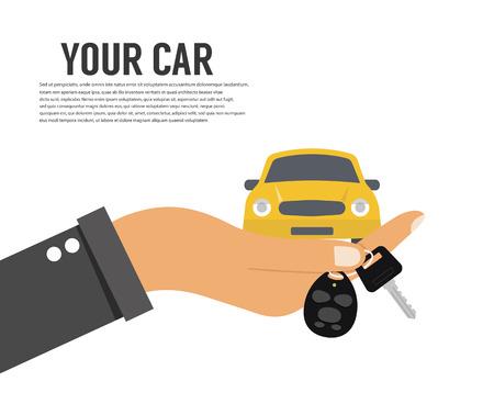 new car: Hand holding car key or home key Illustration