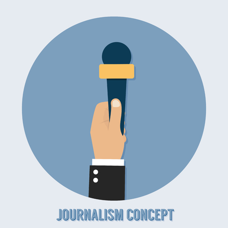 journalism: Journalism concept. Microphone, interview Illustration
