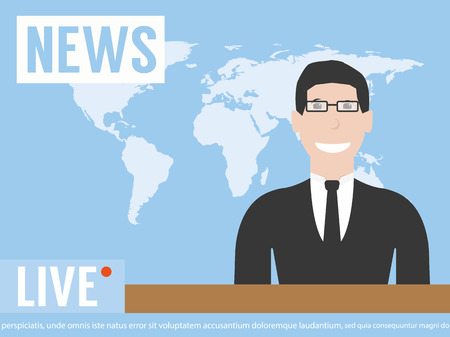 anchorman on tv broadcast news. media on television concept. with globe background. anchor man flat vector illustration Ilustração