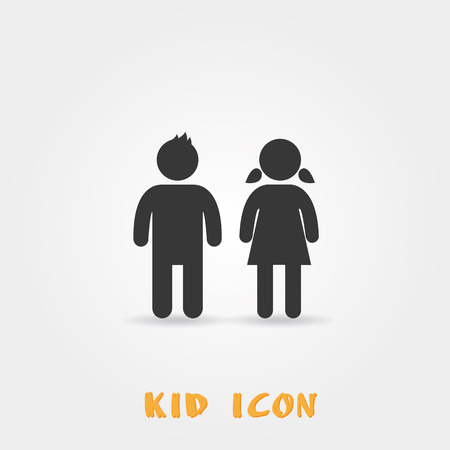 Girl and boy icon on white background