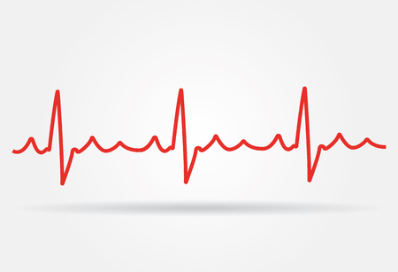 White Heart Beats Cardiogram