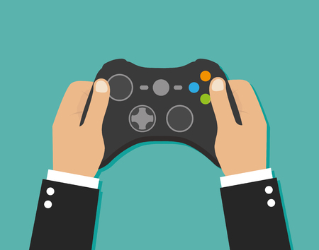 Holding in hands gamepad and playing videogame Vectores