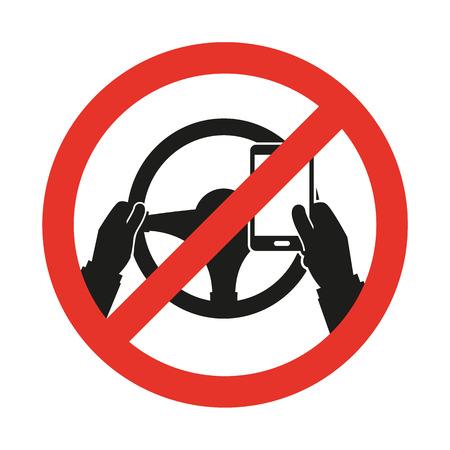 운전 중에는 휴대 전화가 없습니다. 벡터 기호 일러스트