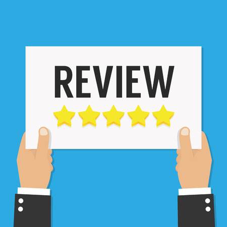 Business hand review give a five star. Stok Fotoğraf - 81173490