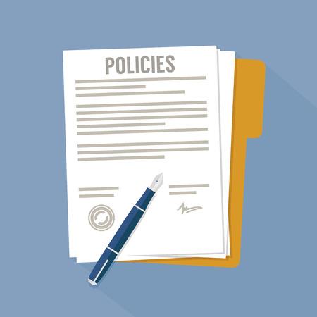 Dokument dotyczący zasad Ilustracje wektorowe