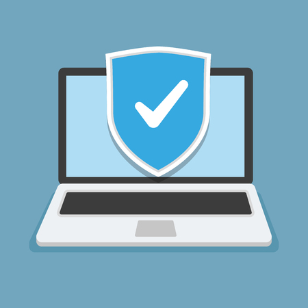 Concept is data security Access. Shield on Computer