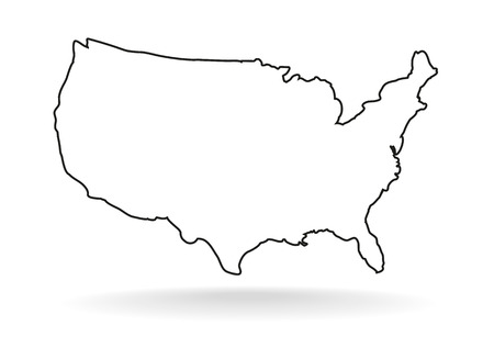 USA-Kartensymbol, Umriss-Stil. Vereinigte Staaten umreißen lokalisiert auf weißem Hintergrund. USA, die Vektorillustration zeichnen