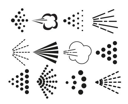 Spray icons set. Simple black fluid spray cloud symbols. Vectores