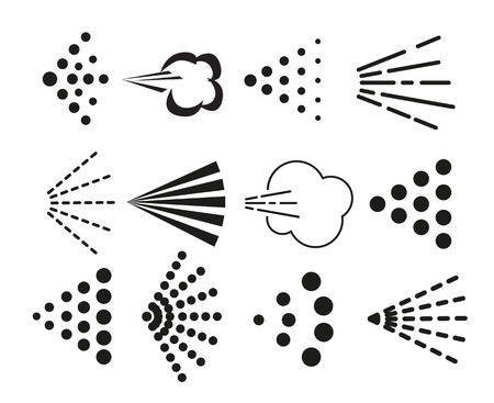 Spray icons set. Simple black fluid spray cloud symbols. Vettoriali