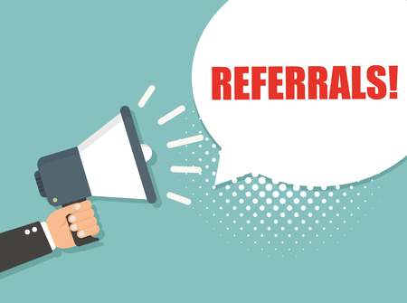 Hand holding megaphone - Referrals