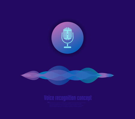 Voice recognition concept vector illustration. Microphone button and sound imitation waves 일러스트