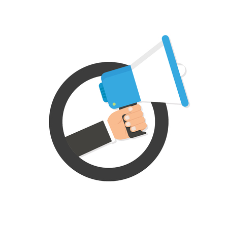 Hand holding megaphone with Important Announcement. Vector illustration.