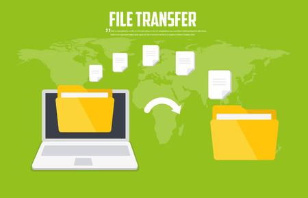 Transfer files. Backup files. Communication between two computers. Vector flat icon Vektoros illusztráció