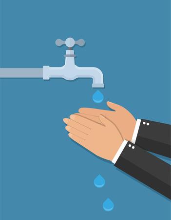 Manos bajo el agua que cae del grifo. El hombre se lava las manos. Estilo plano Ilustración de vector