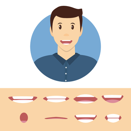 Man avatar with different facial expressions set isolated. Vector flat