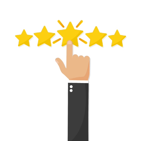 Hand giving five star rating, Feedback concept vector illustration flat style