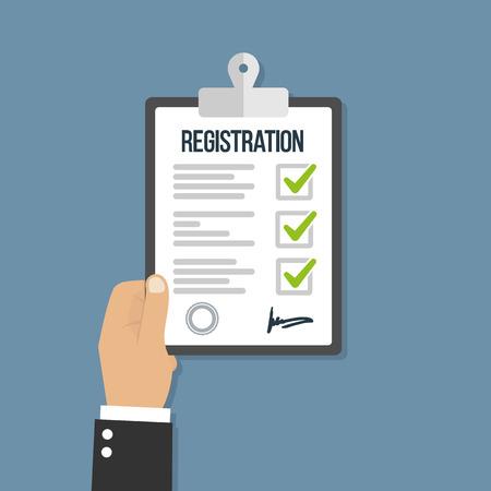 Man hold registration clipboard flat icon Ilustración de vector