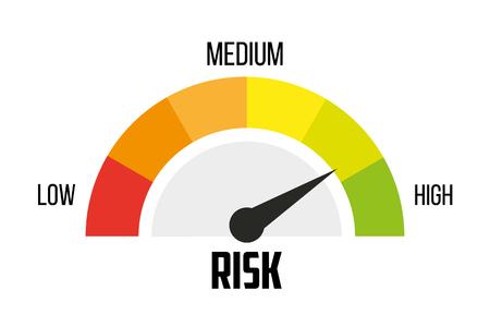 Concepto de riesgo en velocímetro. Icono de vector