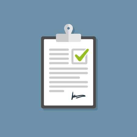Clipboard check mark vector icon. Compliance Regulations Rules