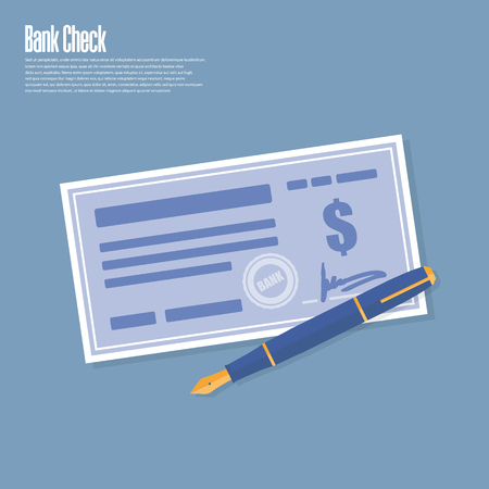 Bank check with pen. Vector illustration flat.
