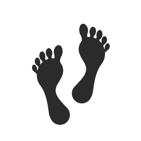 Human foot. Footprint path, footprints. Vector