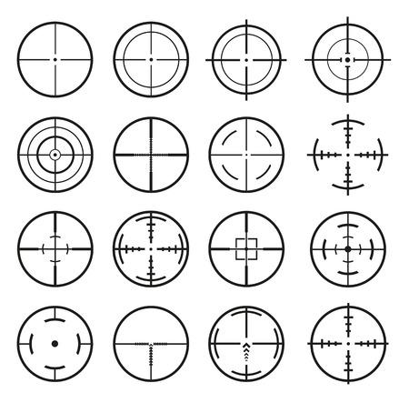 Target Icon. Mega set 16 vector detailed crosshairs