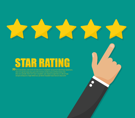 Rating golden stars. Customer review concept vector icon Reklamní fotografie - 115197883