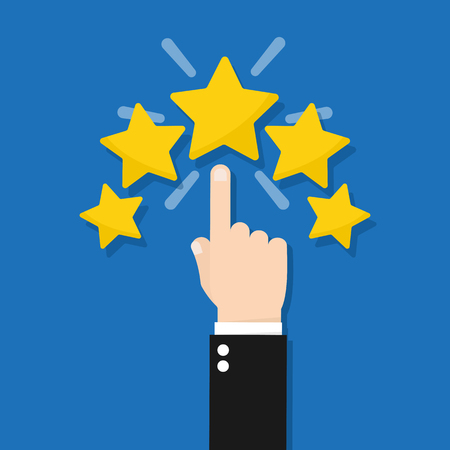 Hand giving five star rating, Feedback concept vector illustration flat style Stockfoto - 115927706