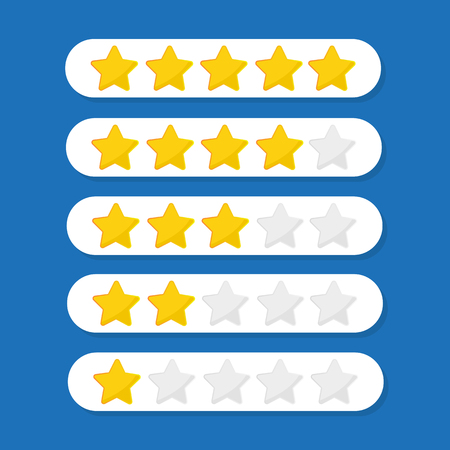 Five stars customer product rating review flat icon Reklamní fotografie - 115927707