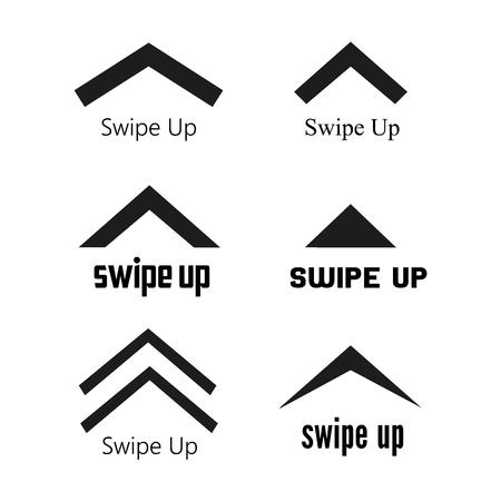 Black swipe up vector stories icon