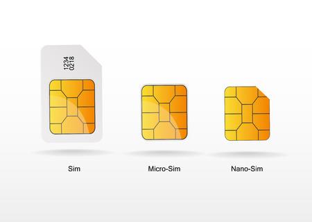 Sim card vector on white background Illustration