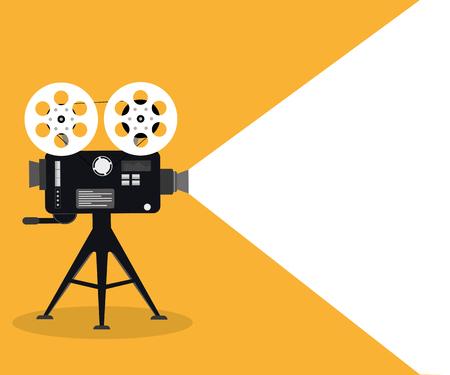 Koncepcja czasu filmu. Szablon plakatu kinowego, baner. Ilustracja projektora filmowego