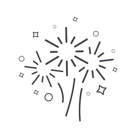 Fireworks line icon, vector sign illustration