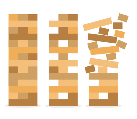 icon vector illustration. Set of tower game. Wooden stack block toy