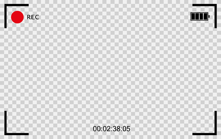 Vector Black transparent camera rec. Screen photography frame. Video quality Vector Illustration