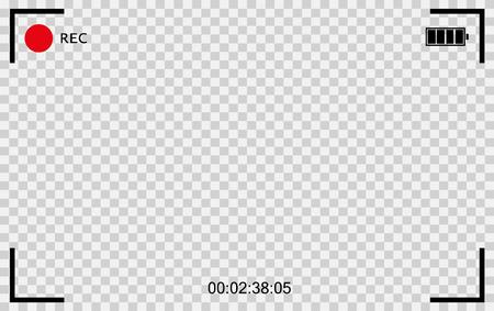 Vector Cámara transparente negra rec. Marco de fotografía de pantalla. Calidad de video Ilustración de vector