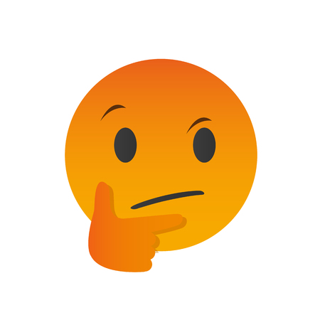 Thinking face emoji with a single finger vector