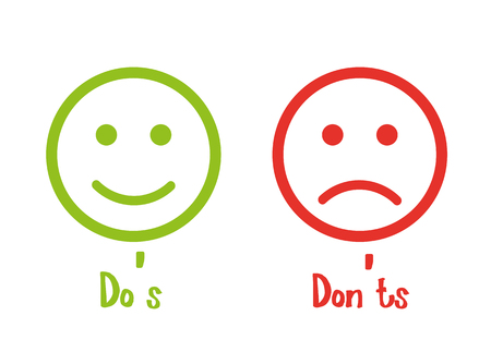 Do's don'ts signs smile Stock Illustratie
