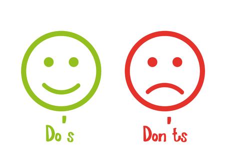 Do's don'ts signs smile Stock Illustratie