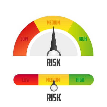 Risk concept on speedometer. Vector icon