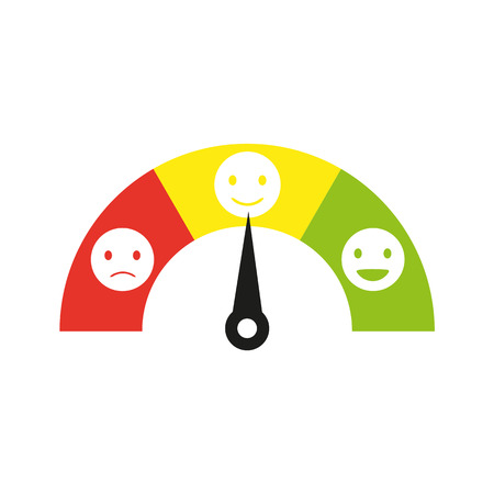 Feedback concept design, emotions scale flat vector Illusztráció