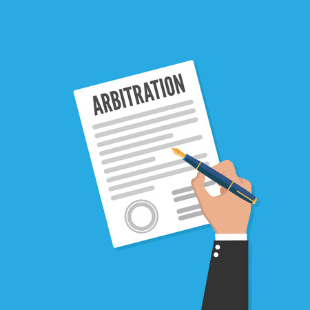 Arbitration law vector flat icon. Legal resolution conflict Ilustrace