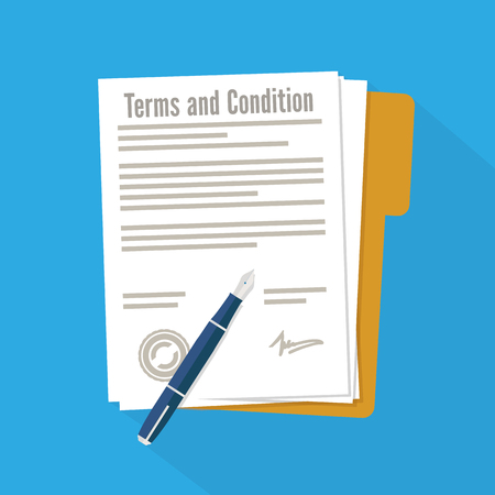 Terms and condition of document signed flat icon Illustration