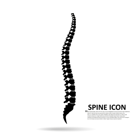 Vector human spine icon isolated silhouette illustration.