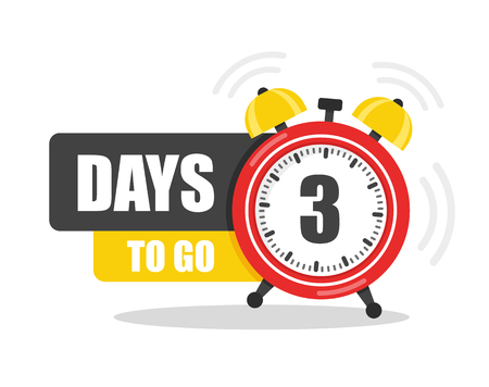Number of 3 days to go flat icon. Vector stock flat illustration.