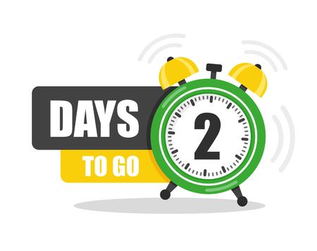Número de 2 días para ir al icono plano. Vector stock ilustración plana