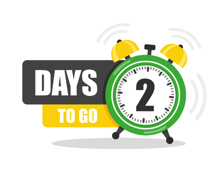 Number of 2 days to go flat icon. Vector stock flat illustration