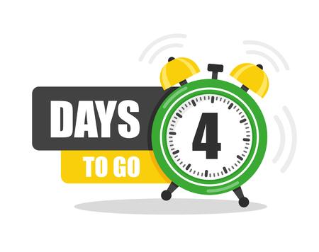 Número de 4 días para ir al icono plano. Vector stock ilustración plana